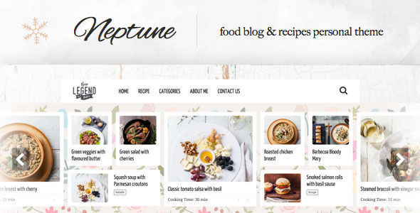 Neptune by Osetin is a recipe WordPress theme which features support for RTL languages, fully responsive layouts, clean design, is great for your personal site, masonry post layouts and a grid layout.