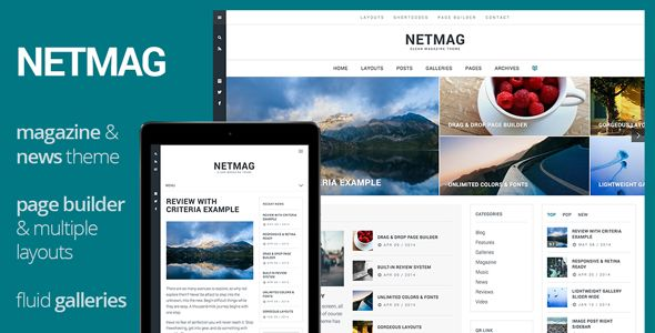 NetMag by Themeous is a news magazine WordPress theme with video support which features Retina display support, support for RTL languages, fully responsive layouts, search engine optimization, Google Fonts support, Revolution Slider, clean design, magazine style layouts, a grid layout and minimal design.
