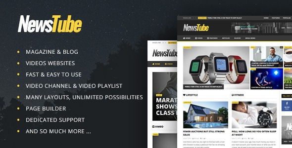 NewsTube by Cactusthemes is a news magazine WordPress theme with video support which features Retina display support, parallax elements, support for RTL languages, Mega Menu, fully responsive layouts, search engine optimization, Google Fonts support, Revolution Slider, WooCommerce integration, clean design, magazine style layouts and a grid layout.