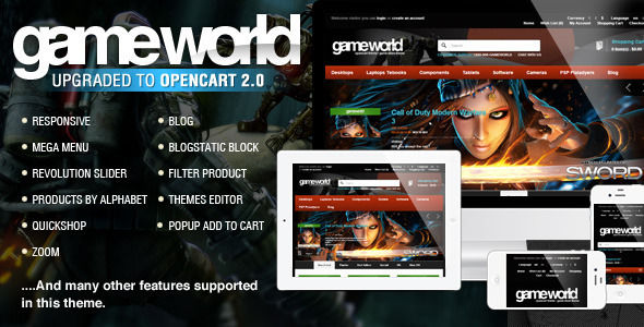 OpenCart Game Theme by Tvlgiao is a ecommerce theme for gaming stores which features parallax elements, support for RTL languages, Mega Menu, one page layouts, fully responsive layouts, search engine optimization, Revolution Slider, WooCommerce integration, Bootstrap framework utilization, Colorful, a grid layout and minimal design.