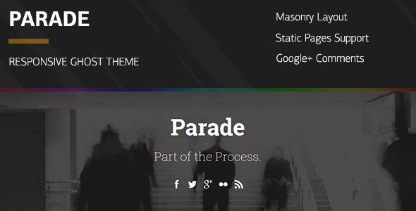 Parade by Audemedia is a Ghost theme which features support for RTL languages, fully responsive layouts, Google Fonts support, blogging related layouts and optimizations and  masonry post layouts.