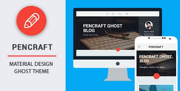 Pencraft by Codetic is a Ghost theme which features parallax elements, fully responsive layouts, clean design, is great for your personal site, blogging related layouts and optimizations and  minimal design.
