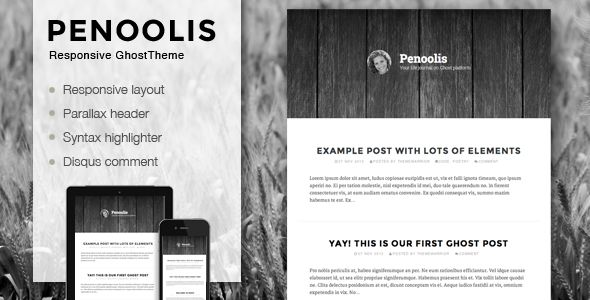Penoolis by ThemeWarriors is a Ghost theme which features parallax elements, fully responsive layouts, clean design, is great for your personal site and  minimal design.