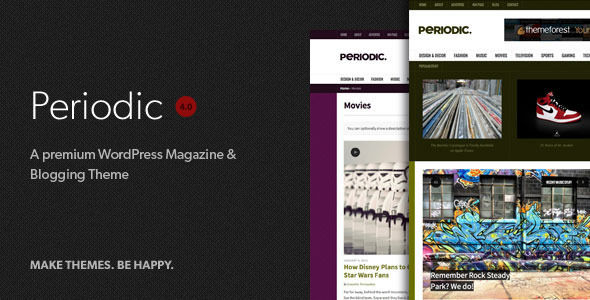 Periodic by Designcrumbstoo is a news magazine WordPress theme with video support which features support for RTL languages, fully responsive layouts, clean design, can be used for your portfolio, magazine style layouts and is great for your personal site.