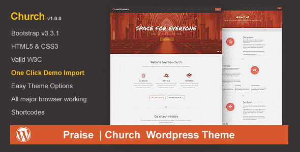 Praise Church by Hiteshmahavar is a news magazine WordPress theme with video support which features fully responsive layouts and Bootstrap framework utilization.