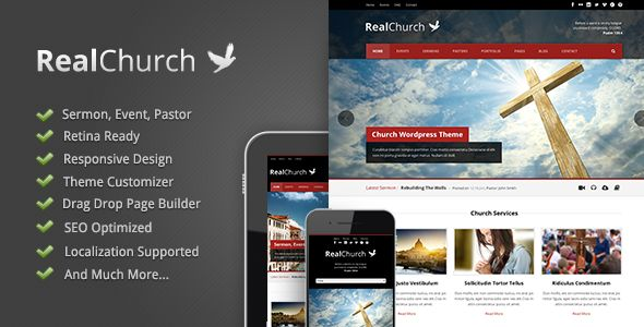 Real Church by GoodLayers is a news magazine WordPress theme with video support which features Retina display support, fully responsive layouts, search engine optimization, Revolution Slider, WooCommerce integration, clean design and can be used for your portfolio.