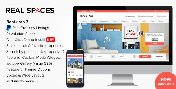 Real Spaces by Imithemes is a niche WordPress theme with frontend submission functionality which features Retina display support, support for RTL languages, fully responsive layouts, search engine optimization, Google Fonts support, Revolution Slider, Bootstrap framework utilization, corporate style visuals, masonry post layouts and a grid layout.