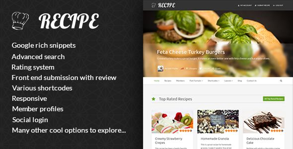 Recipe by DJMiMi is a recipe WordPress theme which features support for RTL languages, fully responsive layouts and Bootstrap framework utilization.