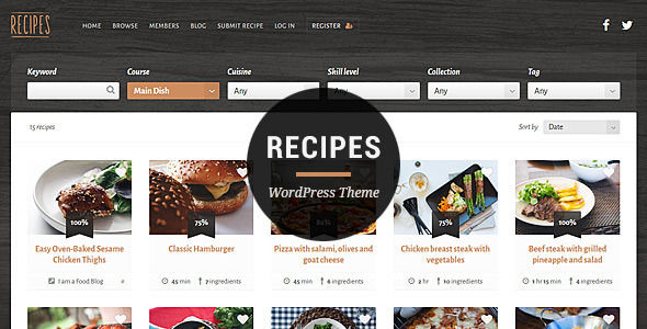 Recipes WordPress Theme by MyTheme is a niche WordPress theme with frontend submission functionality which features fully responsive layouts, search engine optimization and clean design.
