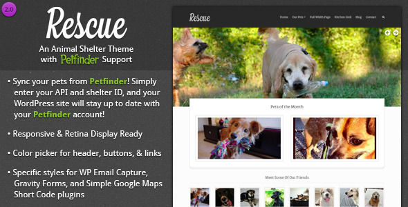 Rescue by Designcrumbs is a WordPress theme for pet rescues and animal shelters which features Retina display support, fully responsive layouts, clean design and can be used for your portfolio.