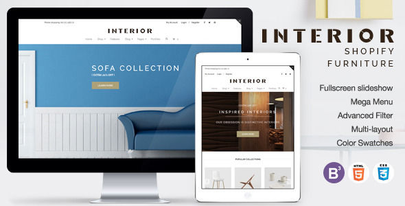 Responsive Minimalist Shopify Theme For Interior by Tvlgiao is a Shopify theme which features parallax elements, support for RTL languages, Mega Menu, fully responsive layouts, search engine optimization, Google Fonts support, WooCommerce integration, Bootstrap framework utilization and  minimal design.