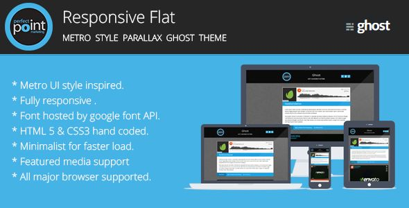 Responsive Flat by Perfectpoint is a Ghost theme which features support for RTL languages, fully responsive layouts, Google Fonts support, Bootstrap framework utilization, flat design aesthetics and  minimal design.