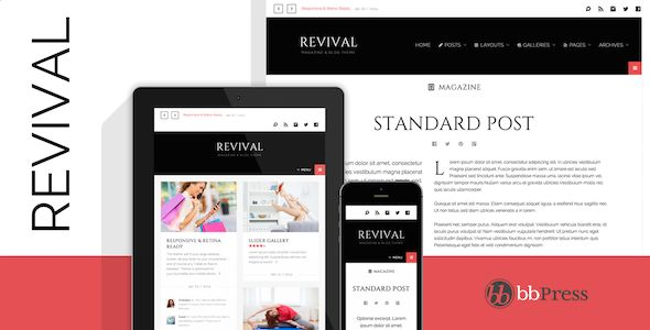Revival by Themeous is a news magazine WordPress theme with video support which features Retina display support, fully responsive layouts, search engine optimization, Google Fonts support, clean design, magazine style layouts, masonry post layouts, a grid layout and minimal design.