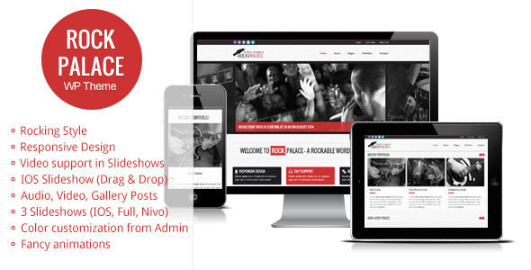 Rock Palace by Gljivec is a WordPress theme for bands which features fully responsive layouts, search engine optimization, Google Fonts support, WooCommerce integration, can be used for your portfolio, is great for your personal site and minimal design.