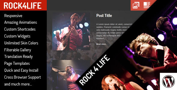RockLife by Egemenerd is a WordPress theme for bands which features support for RTL languages, fully responsive layouts, Google Fonts support and can be used for your portfolio.