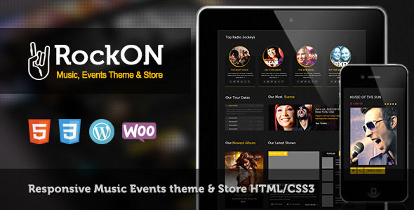 RockOn by CrunchPress is a WordPress theme for bands which features Retina display support, support for RTL languages, fully responsive layouts, Google Fonts support, Revolution Slider, WooCommerce integration, Bootstrap framework utilization, masonry post layouts and a grid layout.