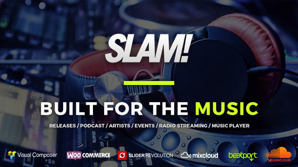 SLAM by QantumThemes is a WordPress theme for bands which features support for RTL languages, one page layouts, fully responsive layouts, search engine optimization, Google Fonts support, Revolution Slider, WooCommerce integration and Bootstrap framework utilization.