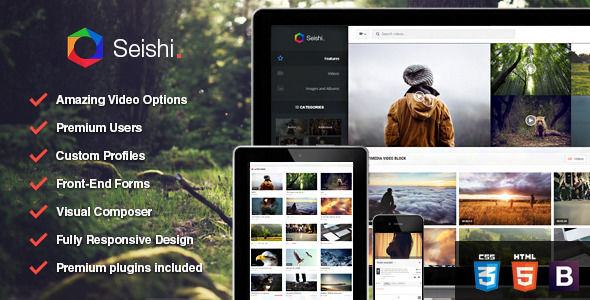 Seishi by Skywarrior is a WordPress theme which features parallax elements, fully responsive layouts, search engine optimization, Revolution Slider, Bootstrap framework utilization and magazine style layouts.