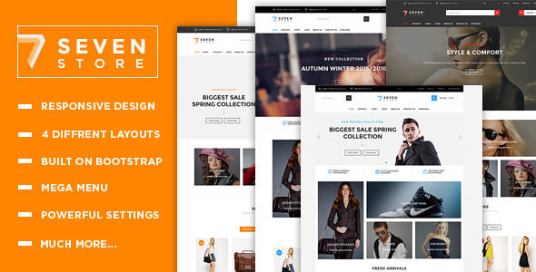 Seven Store by Themesground is a Shopify theme which features support for RTL languages, Mega Menu, fully responsive layouts, clean design and  Bootstrap framework utilization.