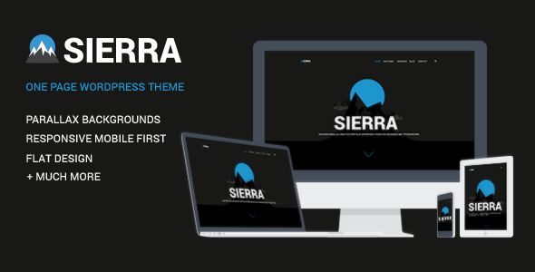 Sierra by ShindiriStudio is a WordPress theme which features parallax elements, one page layouts, fully responsive layouts, search engine optimization, Google Fonts support, Revolution Slider, clean design, Bootstrap framework utilization, support for photo galleries, can be used for your portfolio, magazine style layouts, flat design aesthetics and a grid layout.