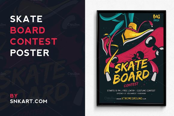 Skateboard Halloween Contest by SNKs is available from CreativeMarket for $6.