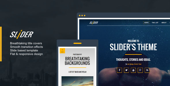 Slider by 7immer is a Ghost theme which features fully responsive layouts, Google Fonts support, clean design, can be used for your portfolio, is great for your personal site, blogging related layouts and optimizations and  flat design aesthetics.