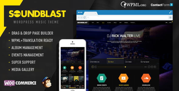 SoundBlast by Chimpstudio is a WordPress music theme which features fully responsive layouts, Revolution Slider, WooCommerce integration and Bootstrap framework utilization.