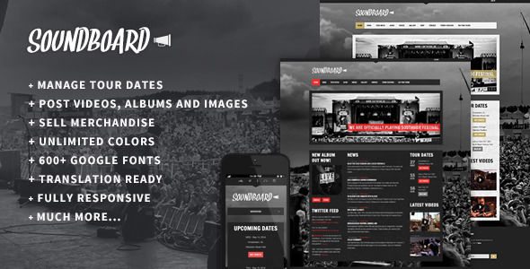 Soundboard by Red_sun is a WordPress music theme which features fully responsive layouts, search engine optimization, Google Fonts support, WooCommerce integration and a grid layout.