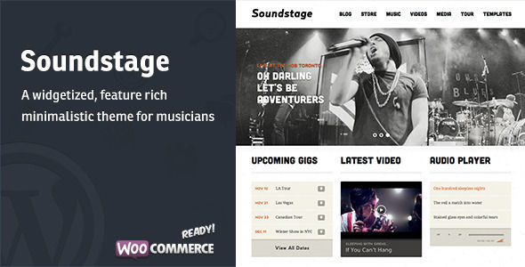 Soundstage by Mintthemes is a WordPress theme for bands which features support for RTL languages, fully responsive layouts, WooCommerce integration and clean design.