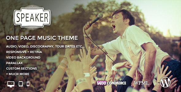 Speaker by BrutalDesign is a WordPress theme for bands which features Retina display support, parallax elements, one page layouts, fully responsive layouts, search engine optimization, retro, Google Fonts support, Revolution Slider, WooCommerce integration, clean design and masonry post layouts.