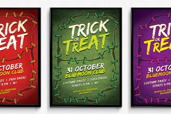 Stitches Halloween Poster by SNKs is available from CreativeMarket for $6.