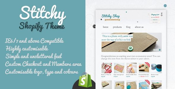 Stitchy Shopify Theme by Simonmosse is a Shopify theme which features Google Fonts support, support for photo galleries, is great for your personal site, a grid layout and  minimal design.
