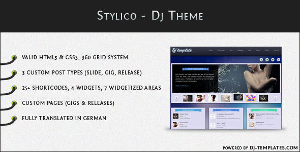 Stylico by Radykal is a WordPress theme for DJs which features magazine style layouts and a grid layout.