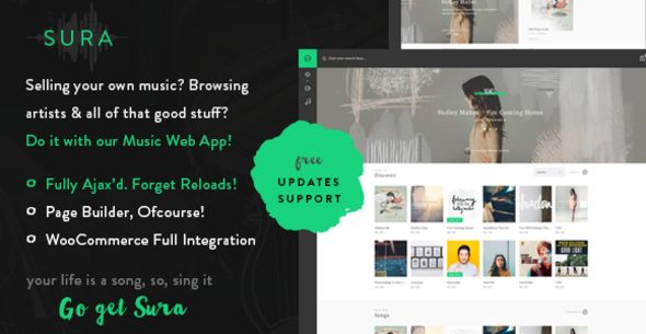 Sura by FinalDestiny is a WordPress music theme which features fully responsive layouts, WooCommerce integration and Bootstrap framework utilization.