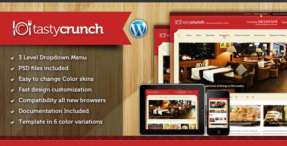 Tasty Crunch by Chimpstudio is a recipe WordPress theme which features Revolution Slider and Bootstrap framework utilization.