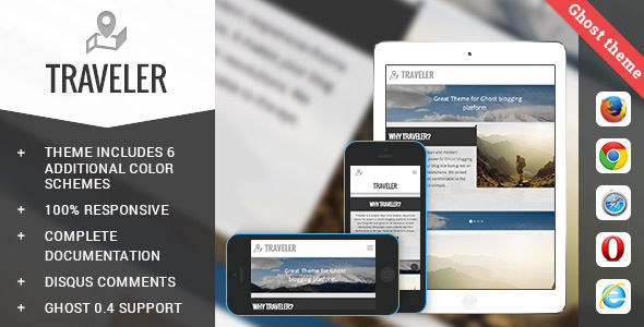 Traveler by Lodossteam is a Ghost theme which features support for RTL languages, fully responsive layouts, clean design, support for photo galleries, is great for your personal site and  blogging related layouts and optimizations.