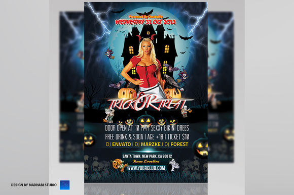 Trick Or Treat Party Flyer by MadhabiStudio is available from CreativeMarket for $7.