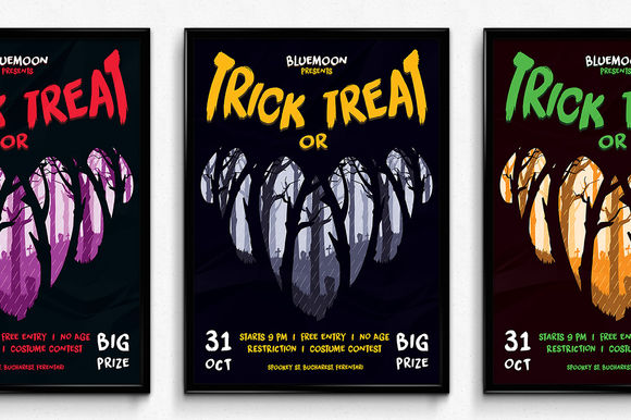 Trick Or Treat Halloween Poster by SNKs is available from CreativeMarket for $6.