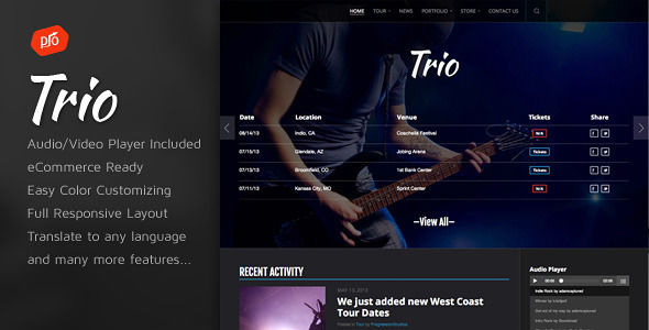 Trio by ProgressionStudios is a WordPress theme for bands which features Retina display support, fully responsive layouts, WooCommerce integration and can be used for your portfolio.