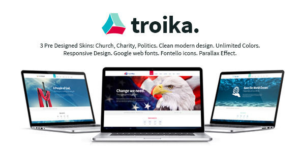 Troika by ThemeREX is a news magazine WordPress theme with video support which features parallax elements, support for RTL languages, fully responsive layouts, search engine optimization, Google Fonts support, Revolution Slider, WooCommerce integration, can be used for your portfolio and minimal design.