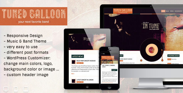 Tuned Balloon by AnarielDesign is a WordPress theme for bands which features support for RTL languages, fully responsive layouts, WooCommerce integration and a grid layout.