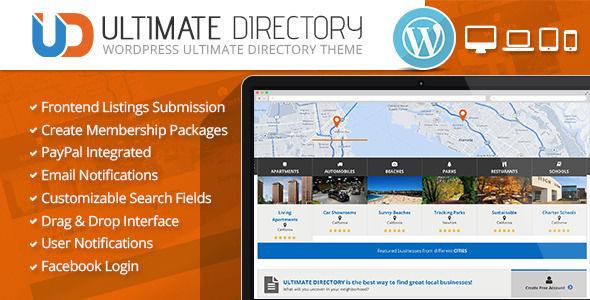 Ultimate Directory Responsive WordPress Theme by CrunchPress is a niche WordPress theme with frontend submission functionality which features support for RTL languages, fully responsive layouts, Google Fonts support, Revolution Slider, Bootstrap framework utilization and can be used for your portfolio.