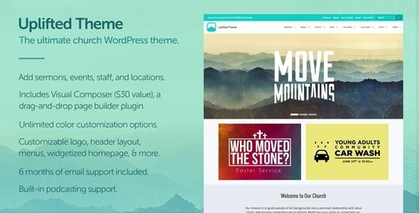 Uplifted by Churchthemeswp is a news magazine WordPress theme with video support which features support for RTL languages, fully responsive layouts and Revolution Slider.