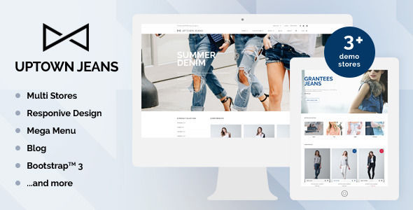Uptown Jeans by Tvlgiao is a Shopify theme which features parallax elements, support for RTL languages, Mega Menu, fully responsive layouts, search engine optimization, Google Fonts support, WooCommerce integration, Bootstrap framework utilization and  minimal design.