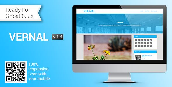 Vernal by GBJsolution is a Ghost theme which features Retina display support, fully responsive layouts, clean design, Bootstrap framework utilization, is great for your personal site, blogging related layouts and optimizations, flat design aesthetics, masonry post layouts and  minimal design.