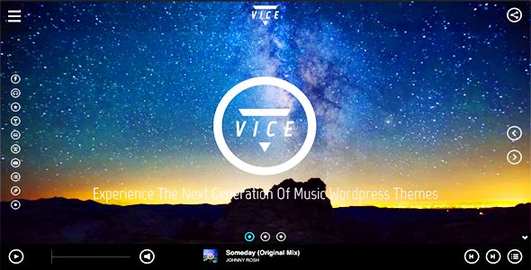 Vice by QantumThemes is a WordPress theme for bands which features Retina display support, parallax elements, one page layouts, fully responsive layouts, Google Fonts support, Revolution Slider, Bootstrap framework utilization, can be used for your portfolio and Futuristic.