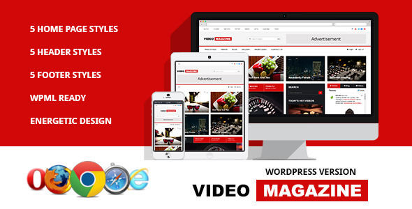 Video Magazine by Softcircles is a news magazine WordPress theme with video support which features support for RTL languages, fully responsive layouts, Google Fonts support, Revolution Slider, clean design, Bootstrap framework utilization, magazine style layouts and flat design aesthetics.