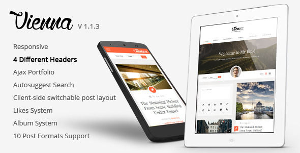 Vienna by Juarathemes is a niche WordPress theme with frontend submission functionality which features fully responsive layouts, search engine optimization, Google Fonts support, clean design, support for photo galleries, can be used for your portfolio, is great for your personal site, masonry post layouts and a grid layout.