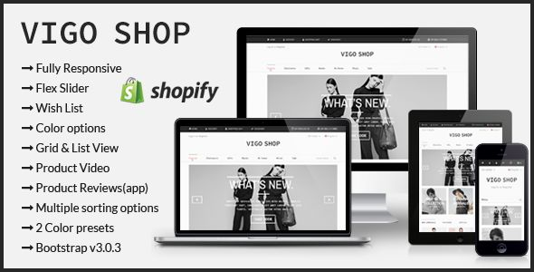 Vigo Shop by Xlentthemes is a Shopify theme which features support for RTL languages, fully responsive layouts, search engine optimization, Google Fonts support, clean design, is great for your personal site, a grid layout and  minimal design.