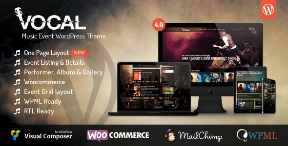 Vocal by Themeum is a WordPress music theme which features support for RTL languages, one page layouts, fully responsive layouts, WooCommerce integration, Bootstrap framework utilization and a grid layout.